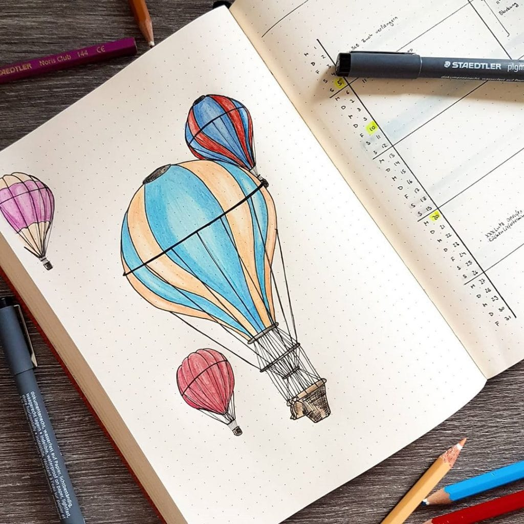 bullet journal hot air balloon monthly spread
