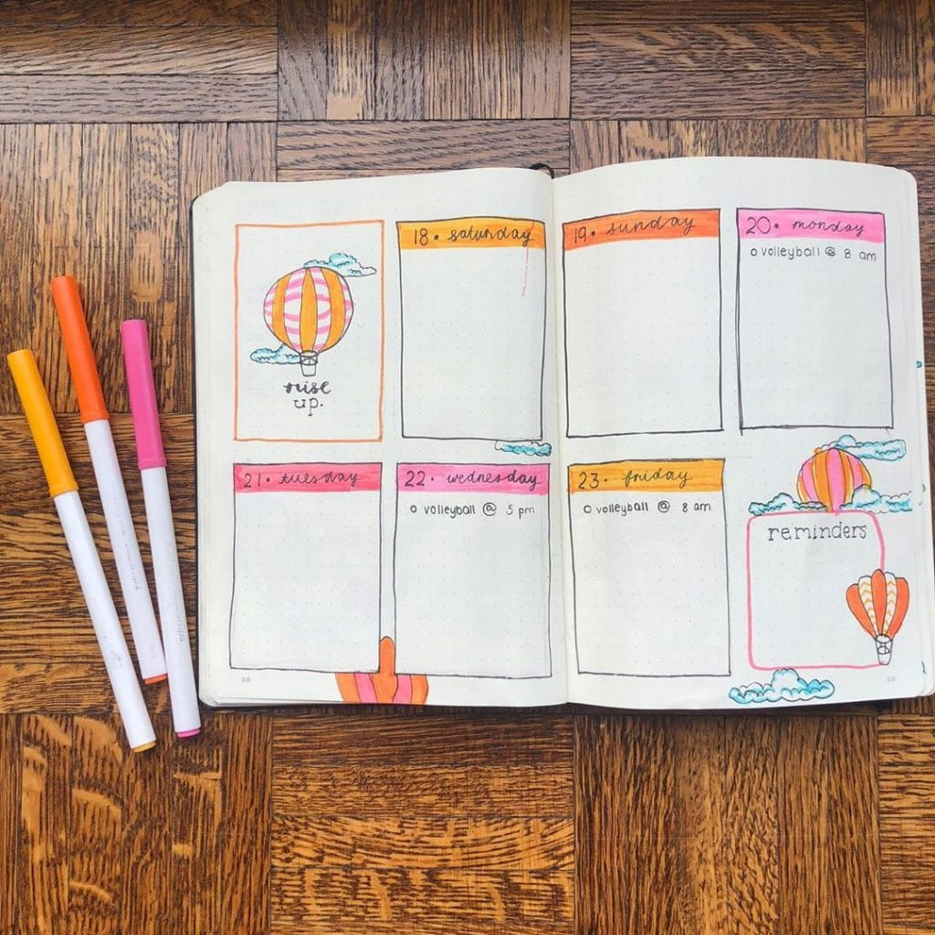 bullet journal hot air balloon weekly