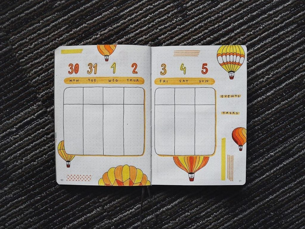 bullet journal hot air balloon weekly (2)