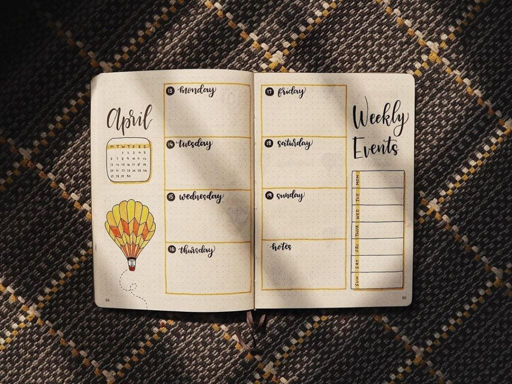 bullet journal hot air balloon weekly (4)