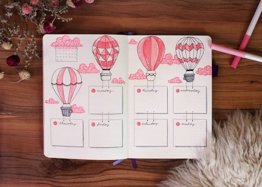 bullet journal hot air balloon weekly spread