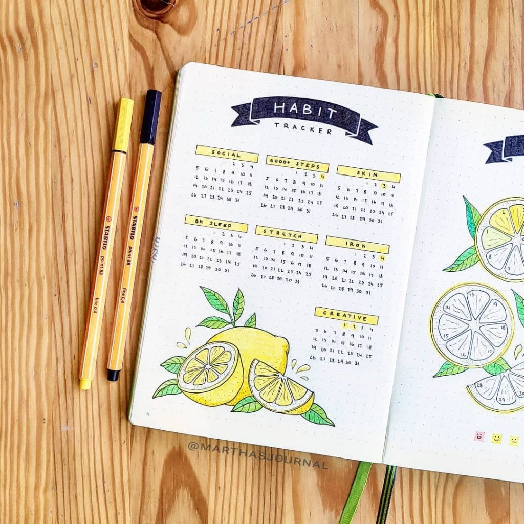 habit tracker lemon bullet journal