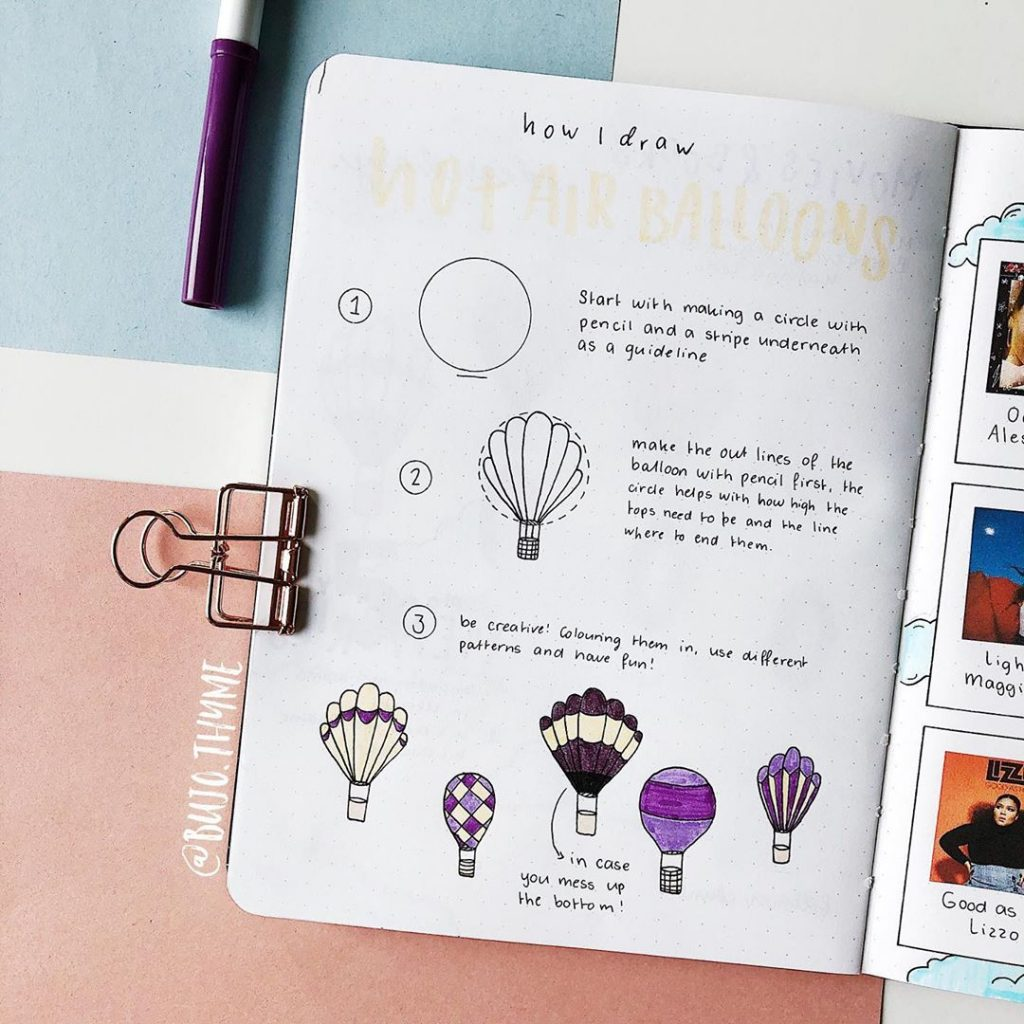 howtodoodle hot air balloon bullet journal
