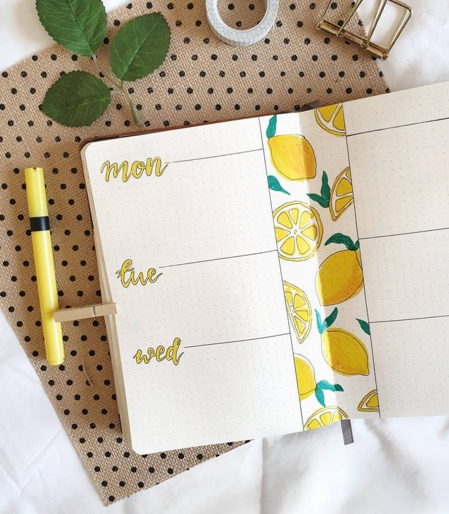 lemon bullet journal weekly spread