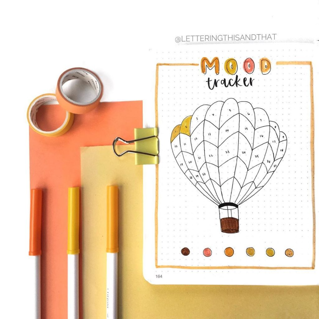 mood tracker hot air balloon bullet journal