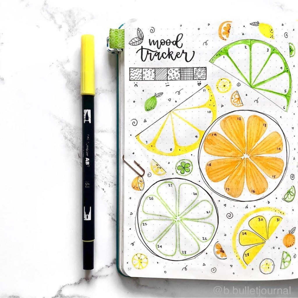 mood tracker lemon bullet journal