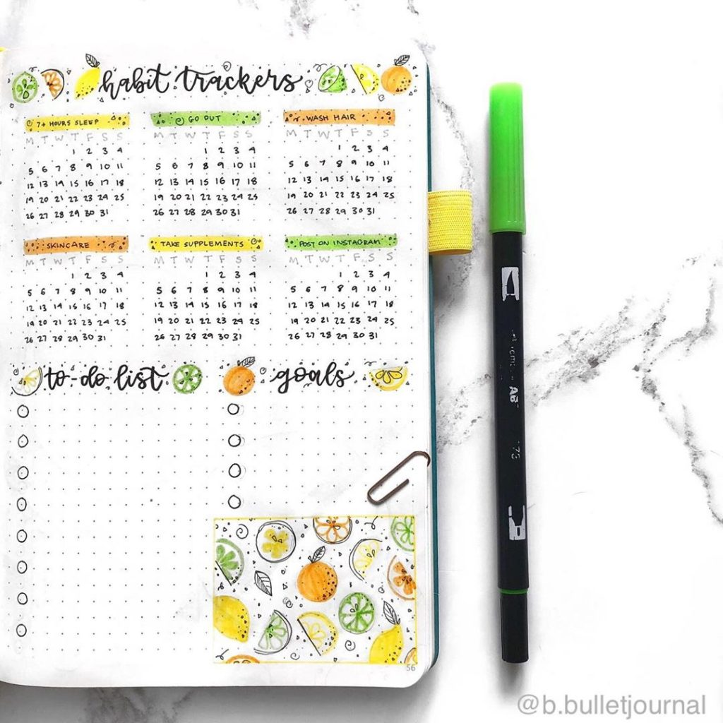 to-do-list lemon bullet journal