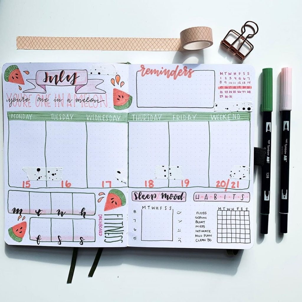 water melon bullet journal weekly spread theme 2