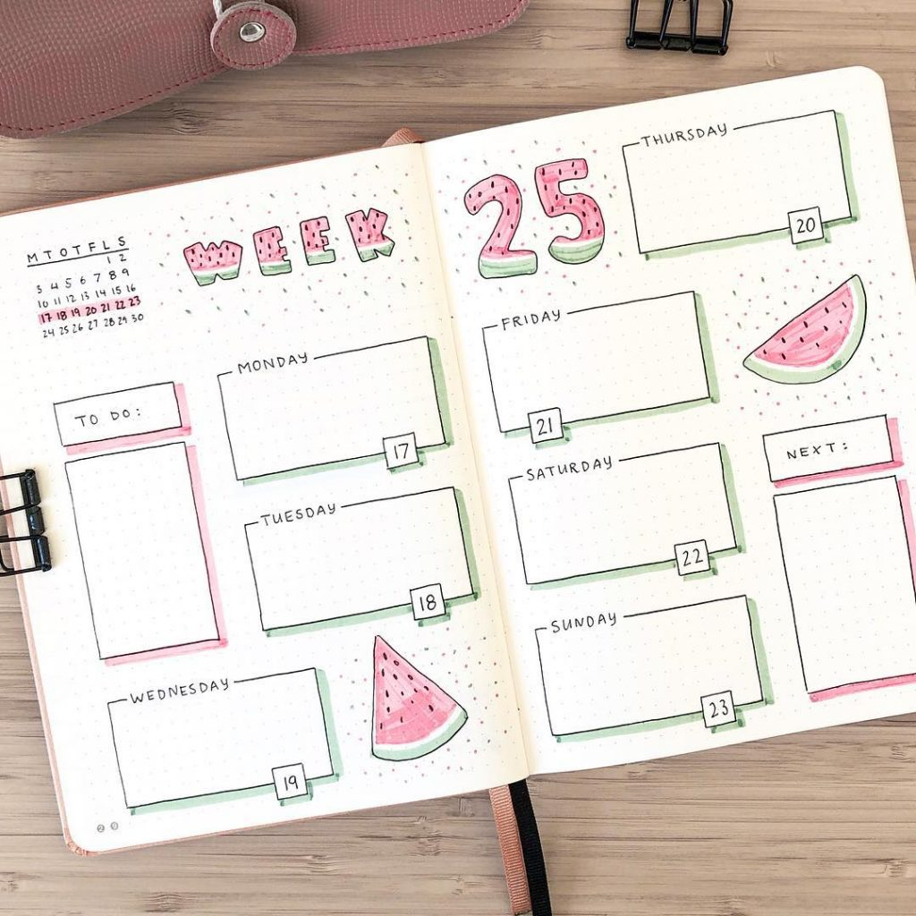 water melon bullet journal weekly spread theme 8