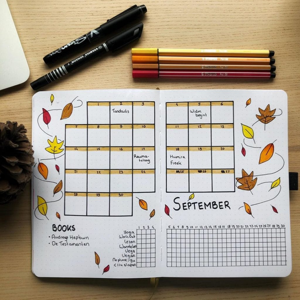 Bullet Journal Fall Theme Monthly Layout