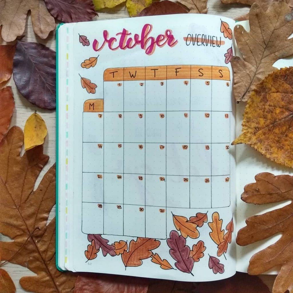 Bullet Journal Fall Theme Monthly Layout 2
