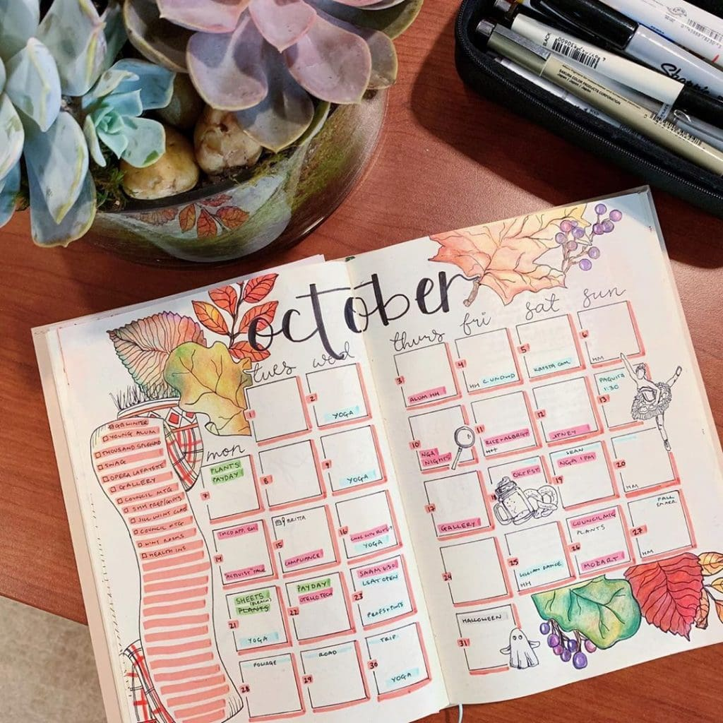 Bullet Journal Fall Theme Monthly Layout 3