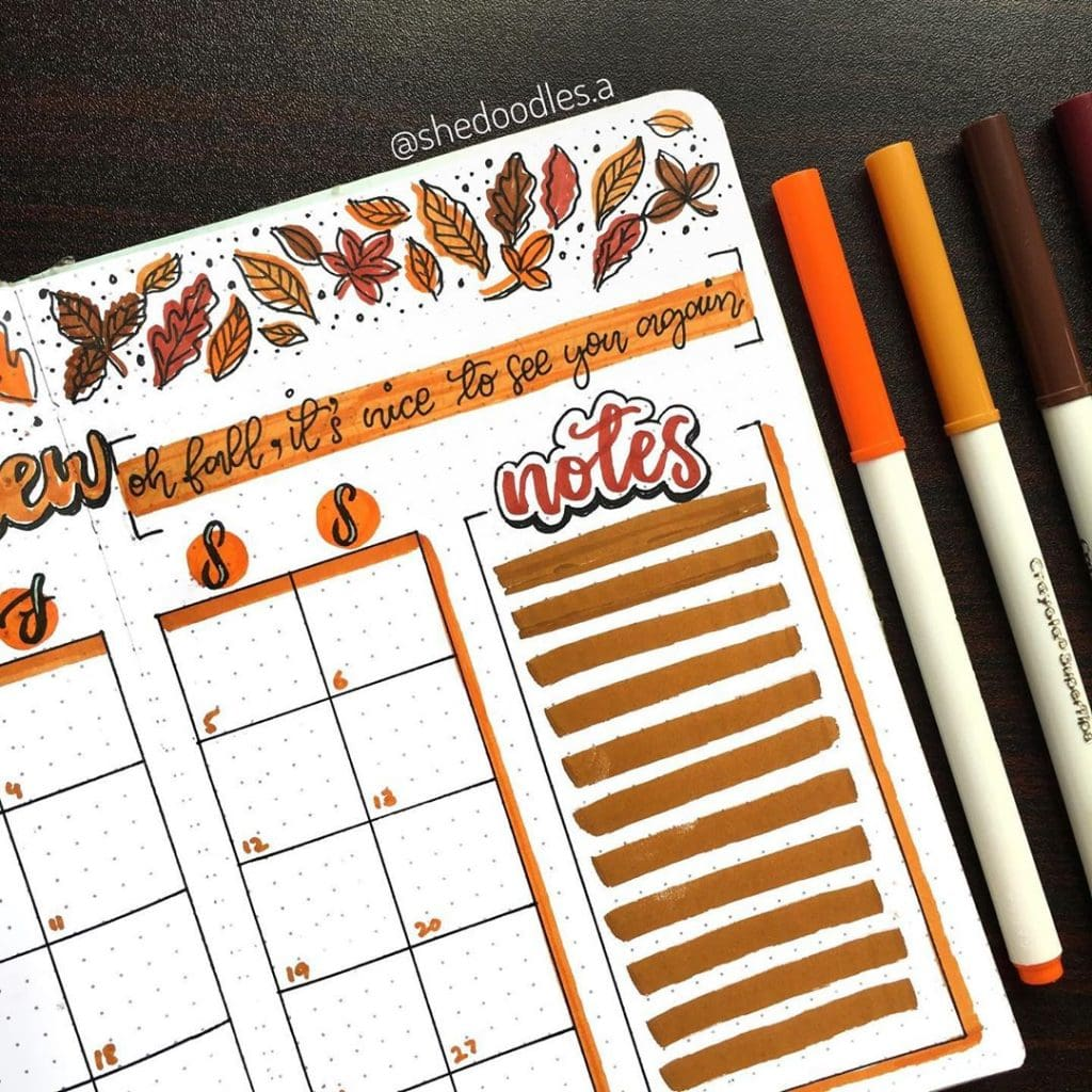 Bullet Journal Fall Theme Weekly Spread