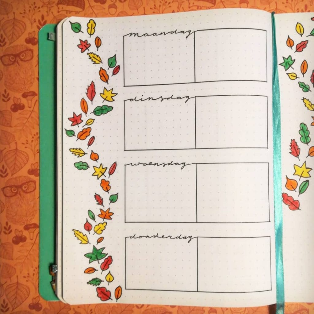 Bullet Journal Fall Theme Weekly Spread 4