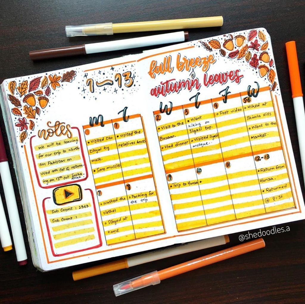 Bullet Journal Fall Theme Weekly Spread 5