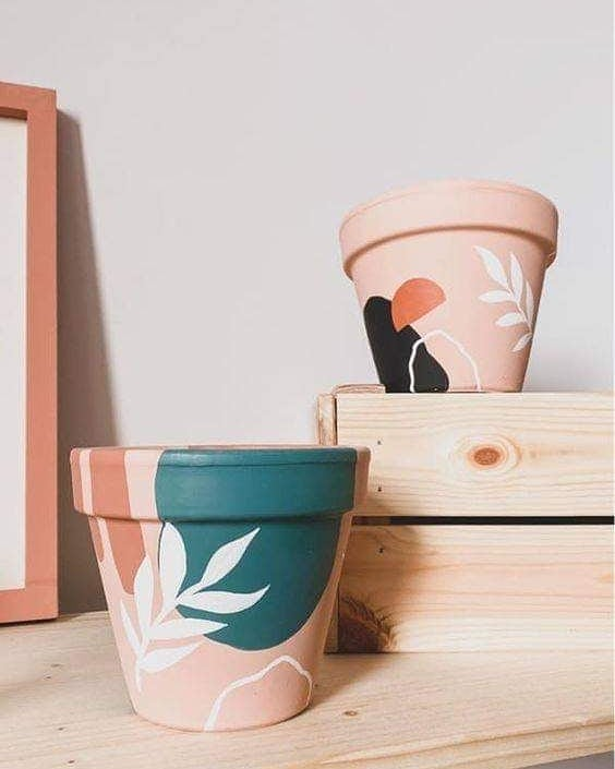 Painted Flower Pots Abstract Pattern 1