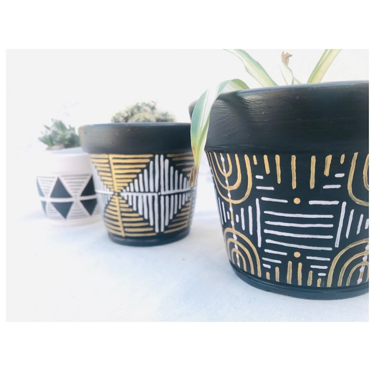 Painted Flower Pots Abstract Pattern 6