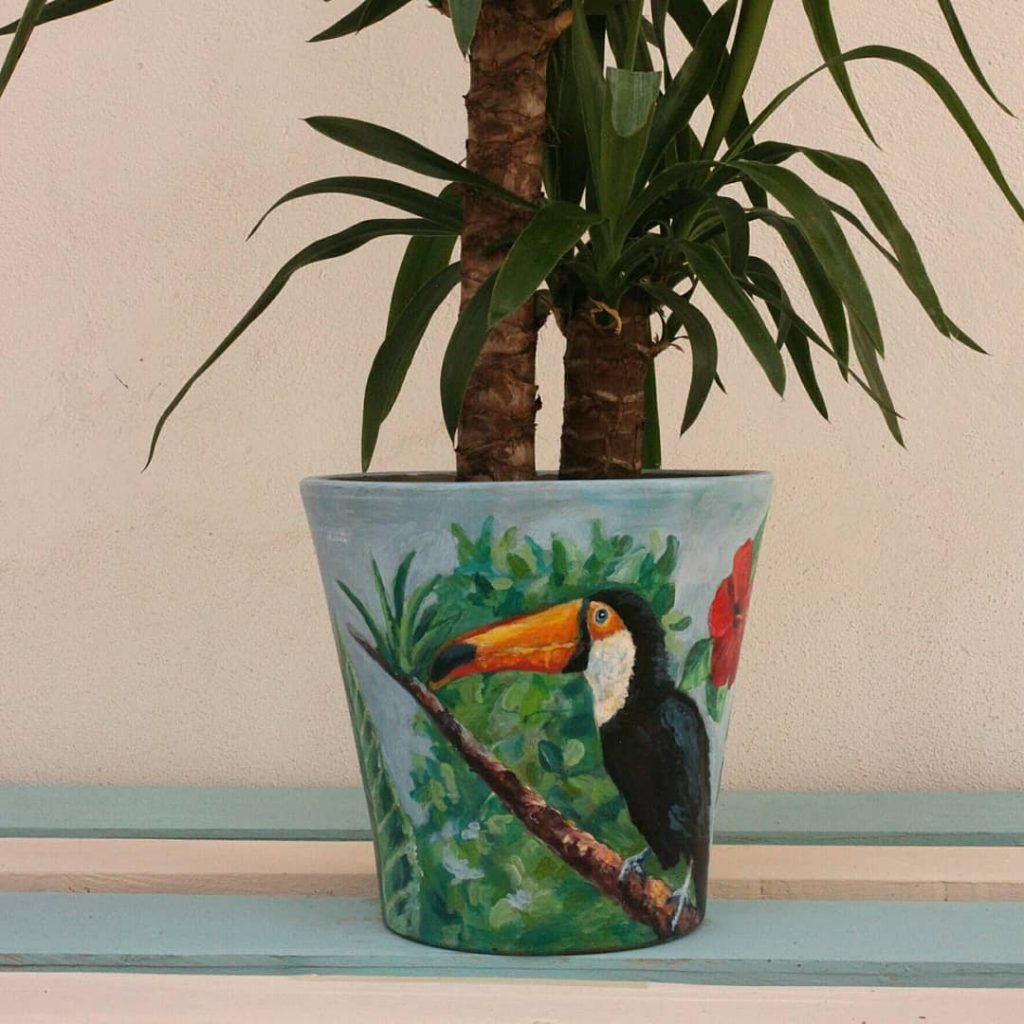 Painted Flower Pots Animal Pattern 2