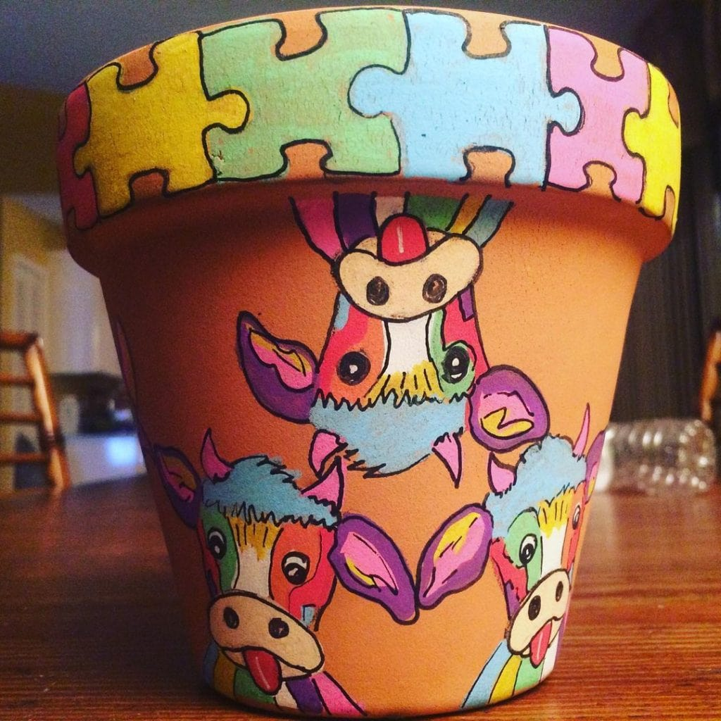 Painted Flower Pots Animal Pattern 3
