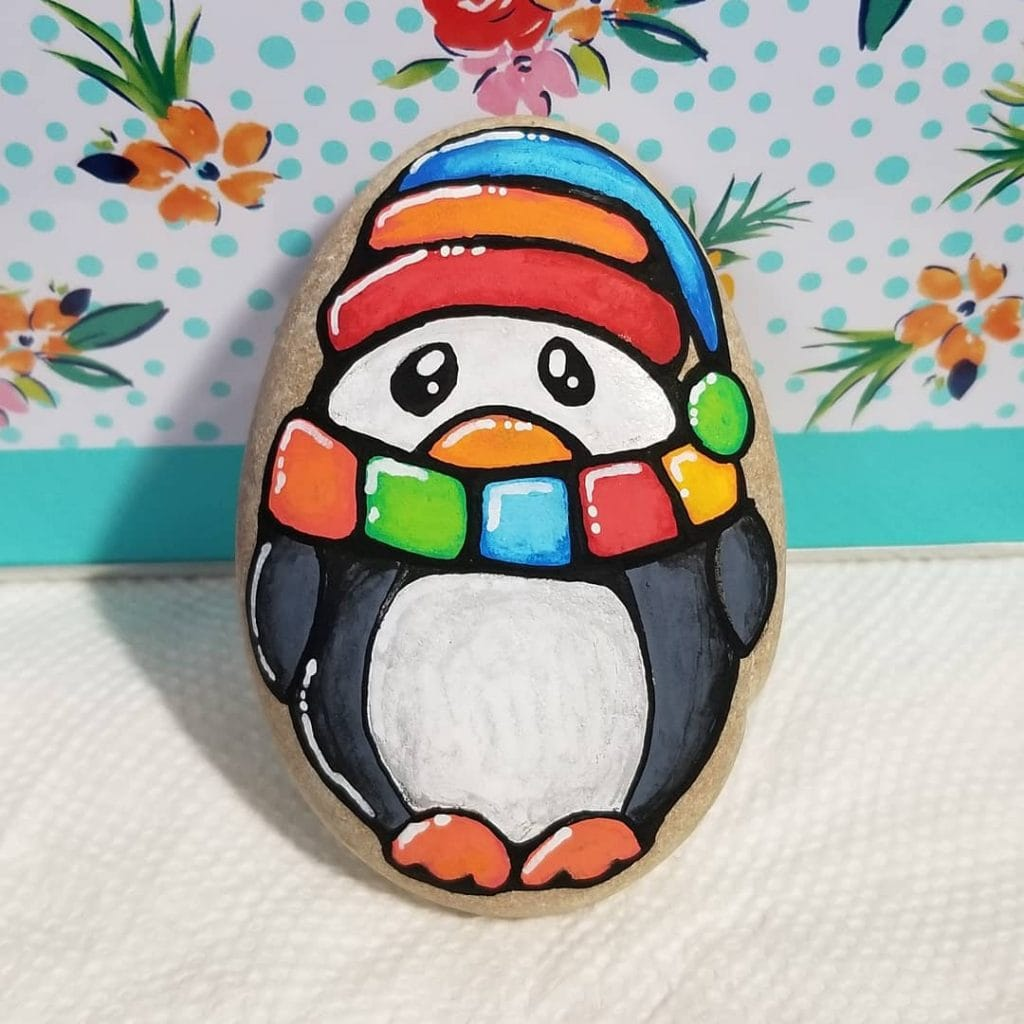 Rock Painting Ideas Christmas and Winters 1