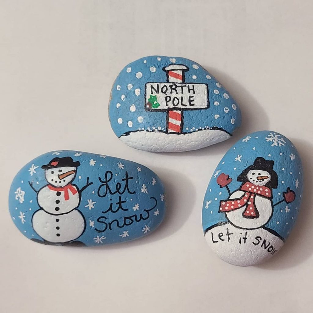 Rock Painting Ideas Christmas and Winters 13