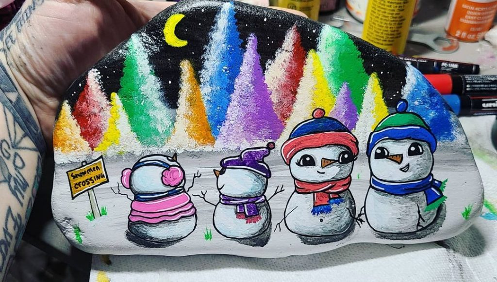 Rock Painting Ideas Christmas and Winters 2