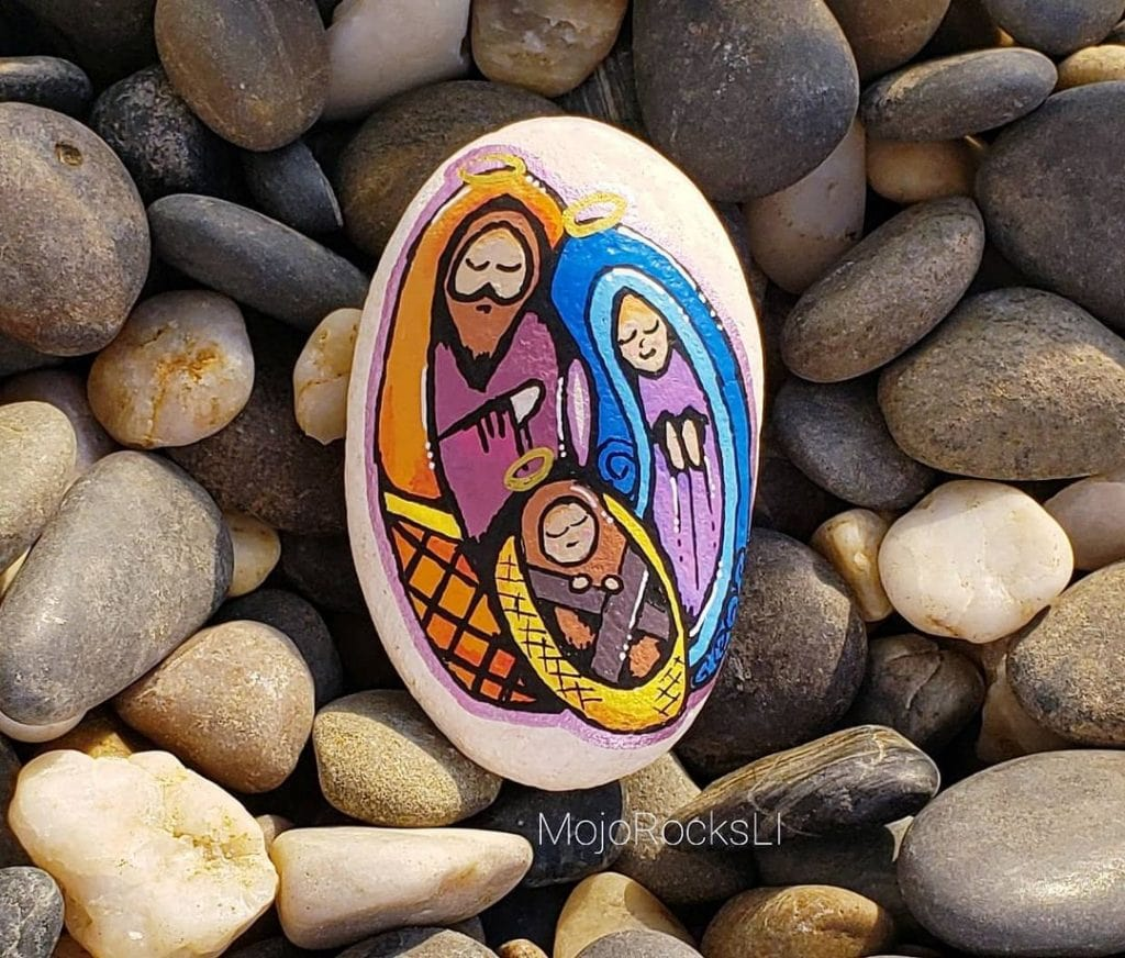 Rock Painting Ideas Christmas and Winters 8