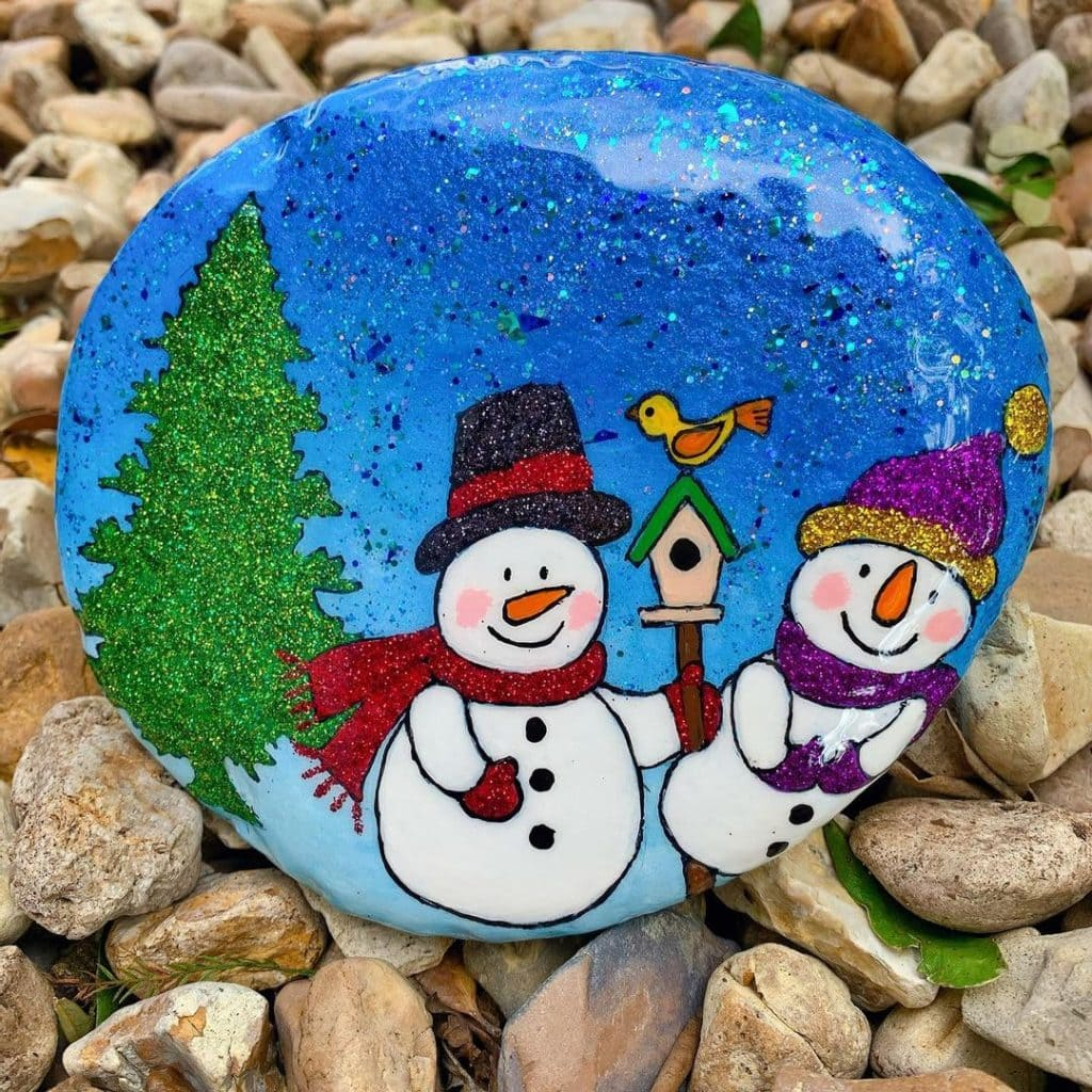 Rock Painting Ideas Christmas and Winters 9