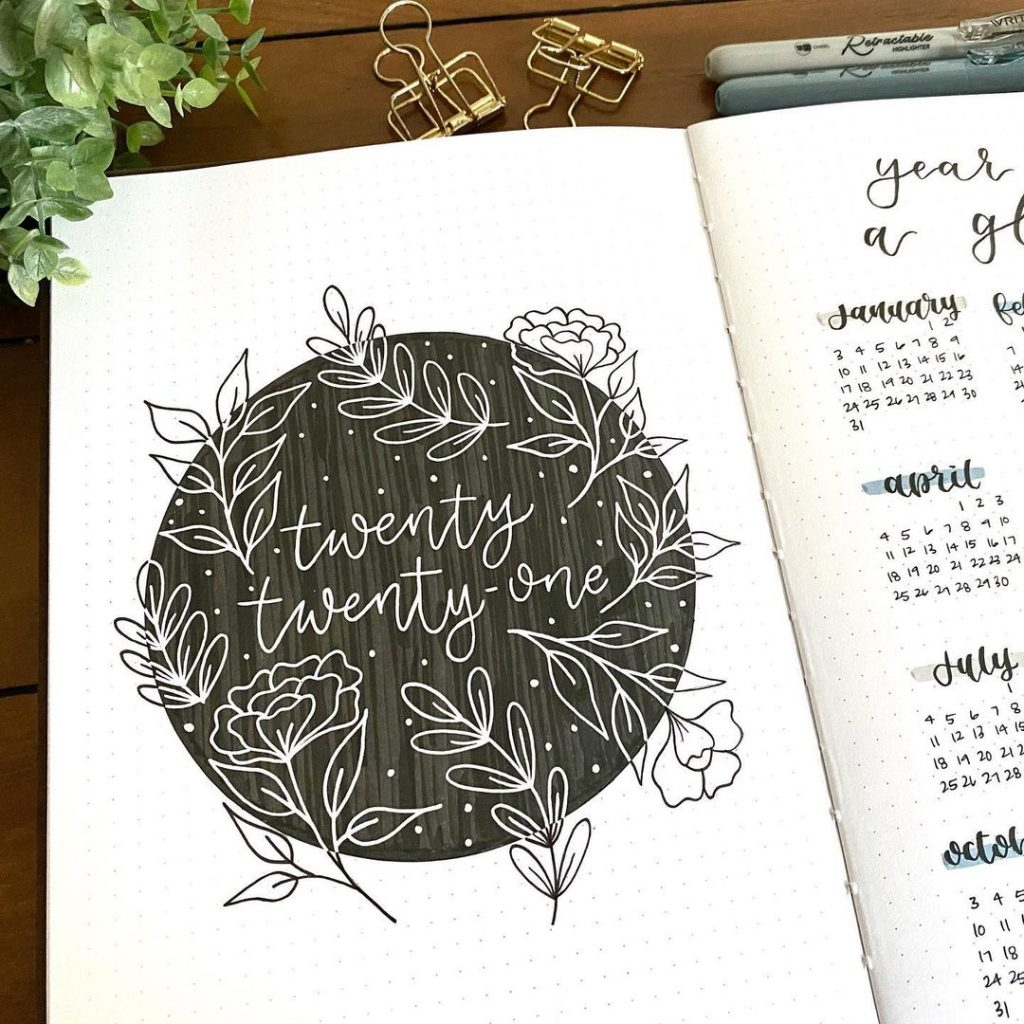 rose bullet journal cover page ideas 2021
