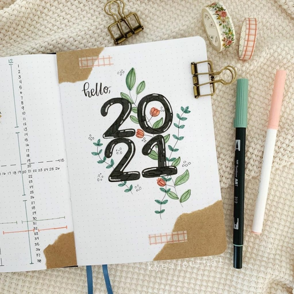 leaves 2021 bullet journal cover page ideas