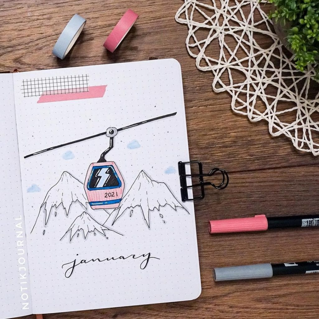 skiing 2021 bullet journal cover page ideas