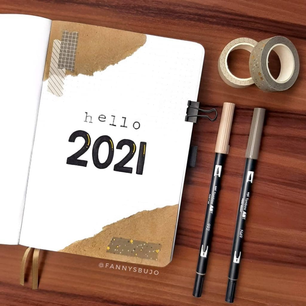 simple theme 2021 bullet journal cover page ideas