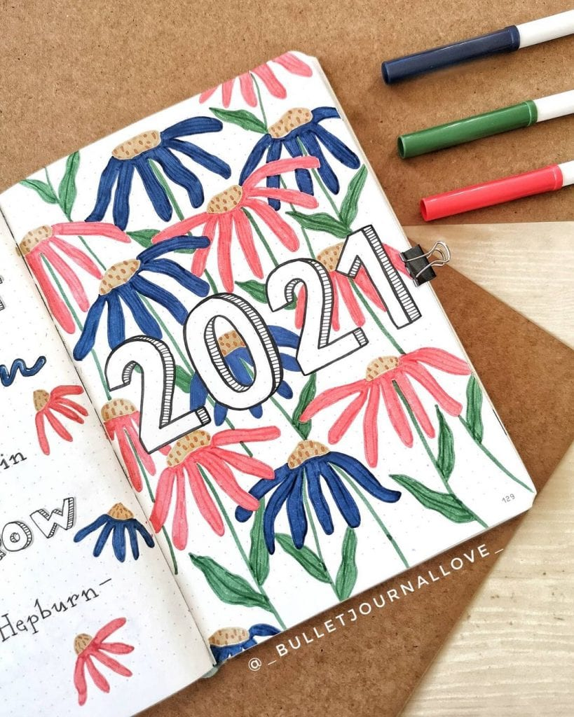 floral theme bullet journal cover page ideas