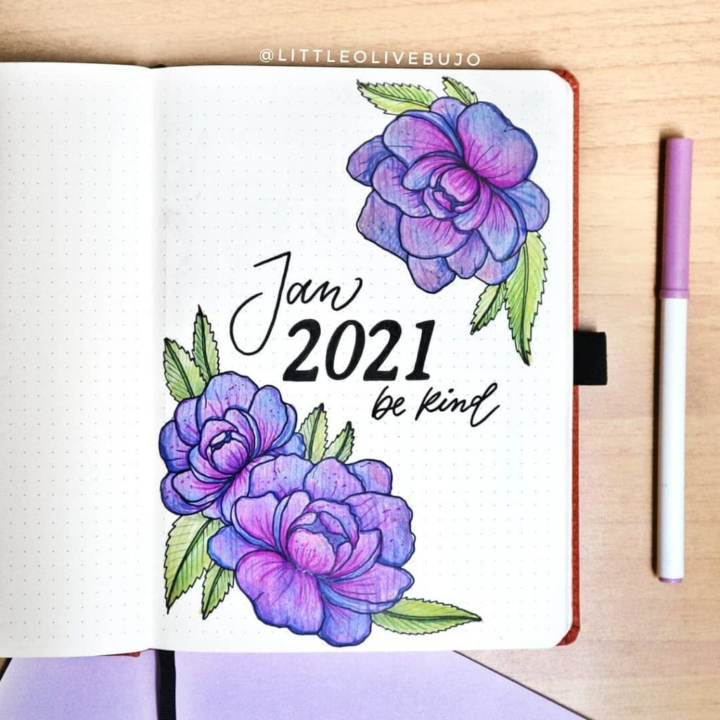 purple peonies 2021 bullet journal cover page ideas