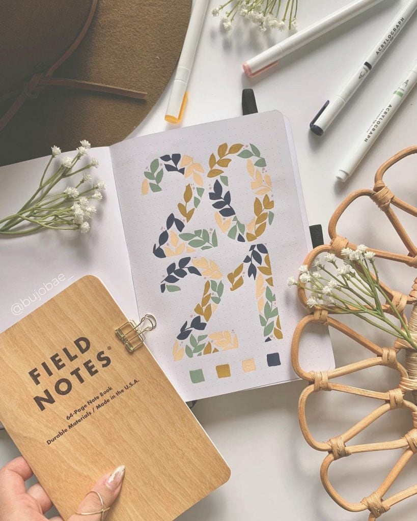 floral 2021 bullet journal cover page ideas