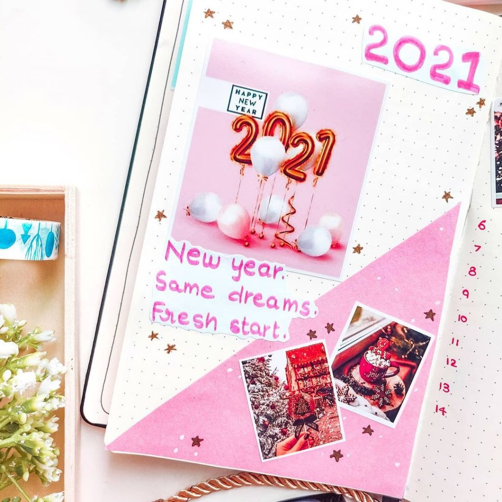 pink theme 2021 bullet journal cover page ideas