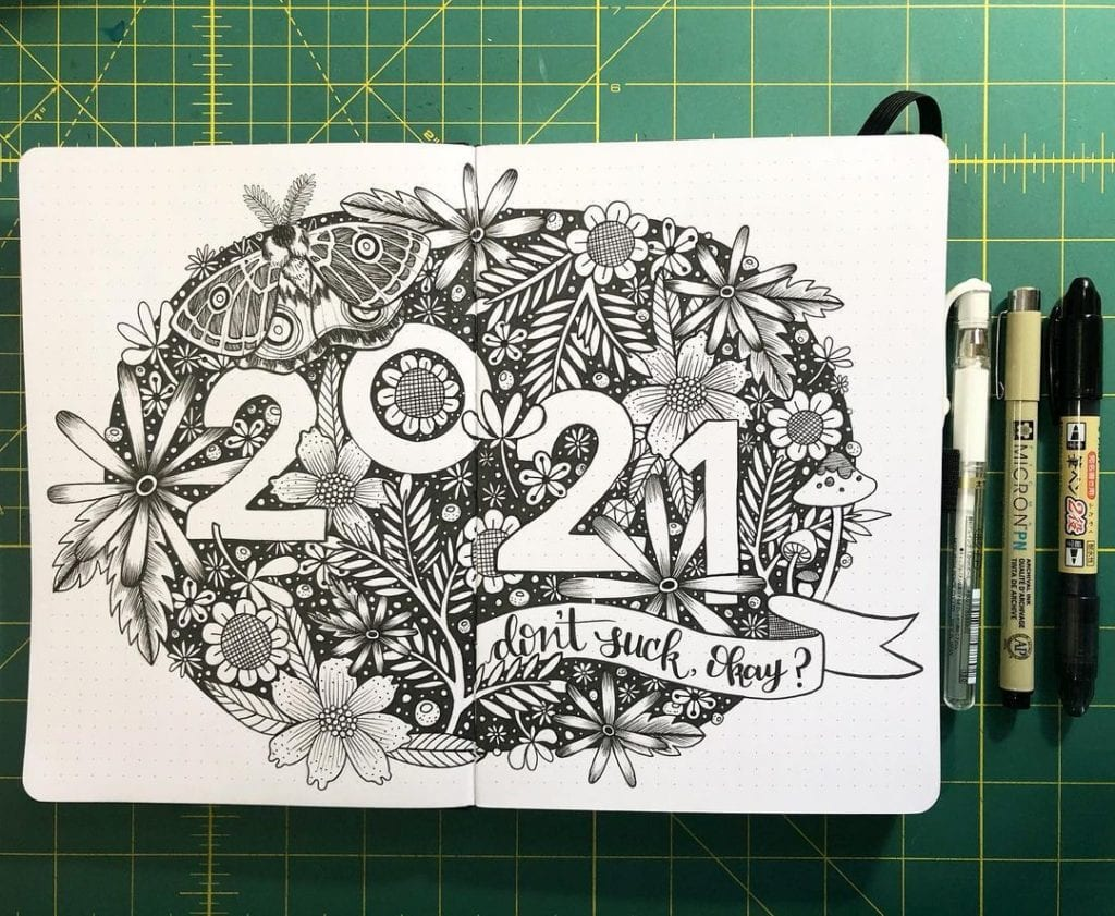 doodle 2021 bullet journal cover page ideas for new year