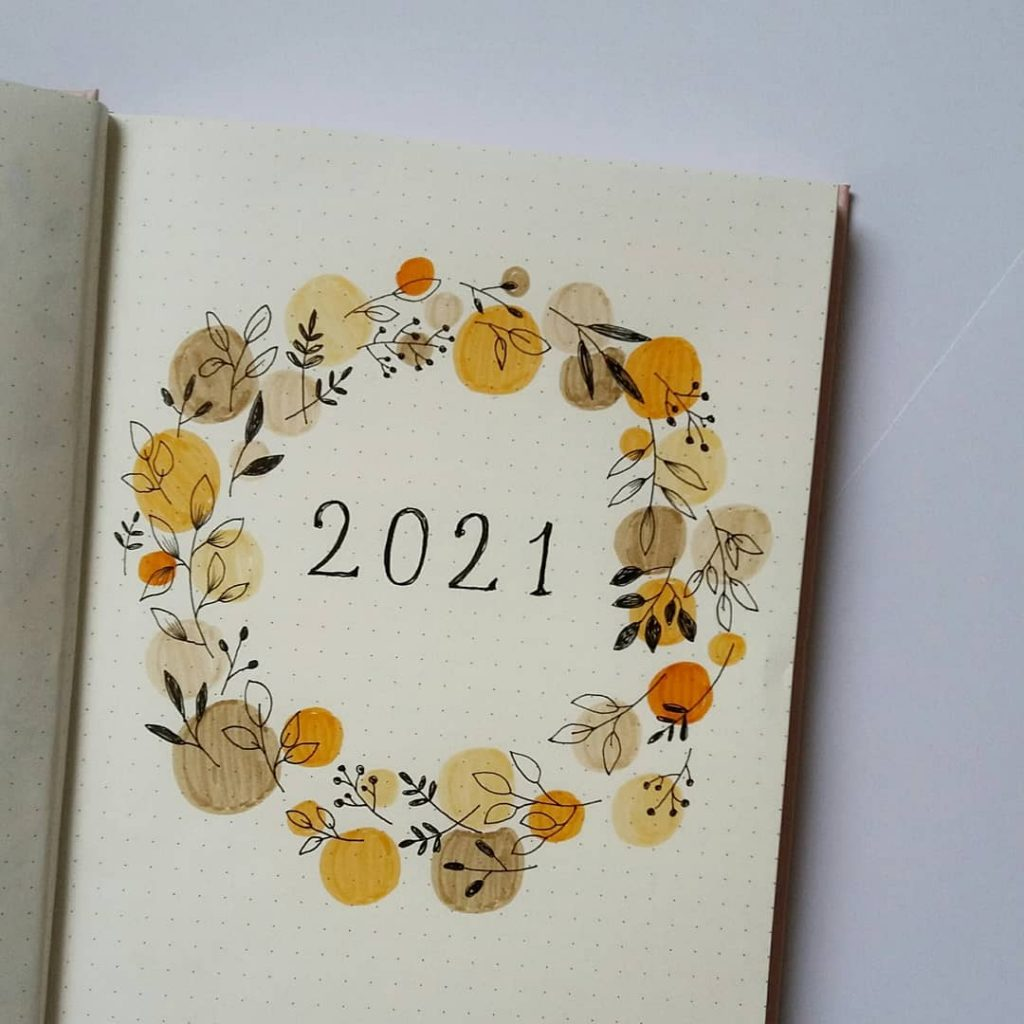 wreath 2021 Bullet Journal Cover Page Ideas