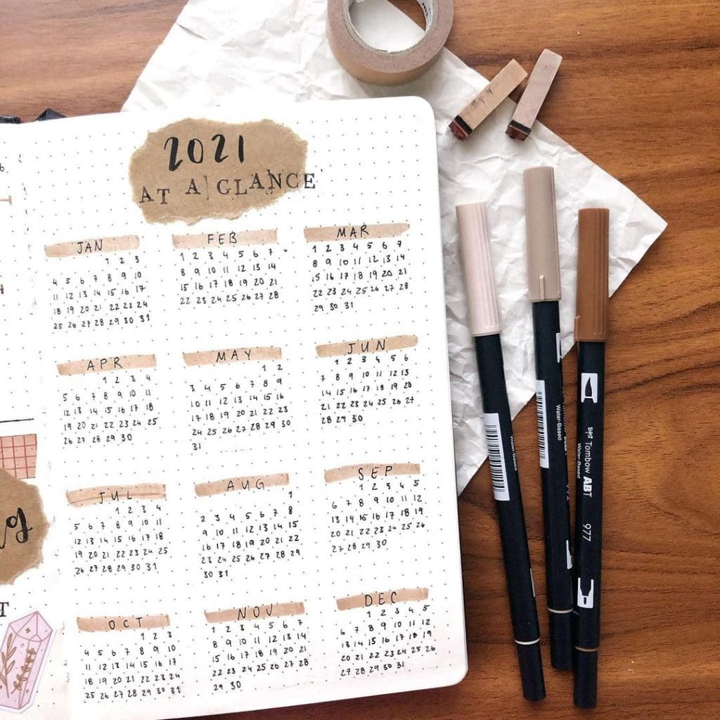 yearly theme 2021 bullet journal cover page ideas