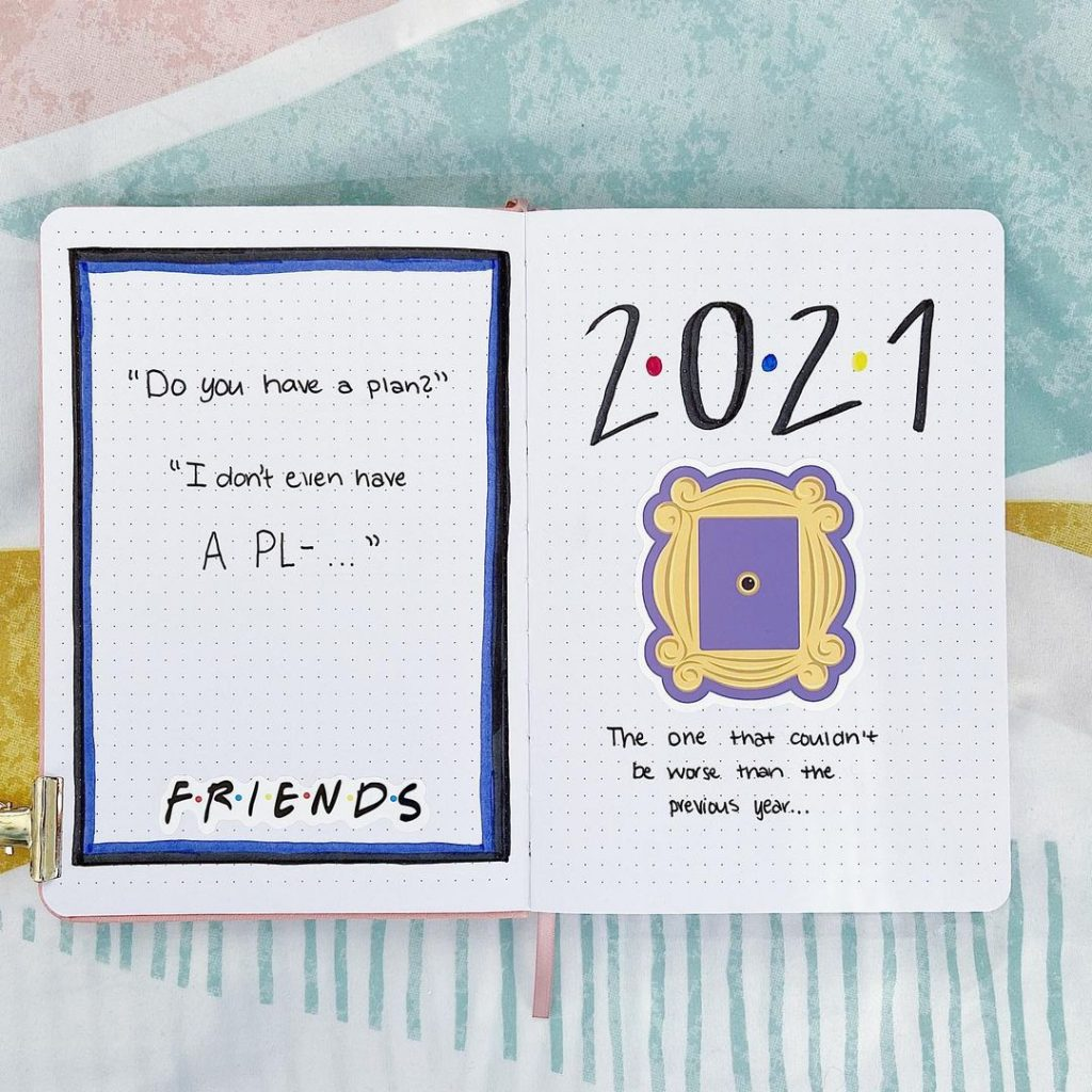 friends theme 2021 bullet journal cover page ideas