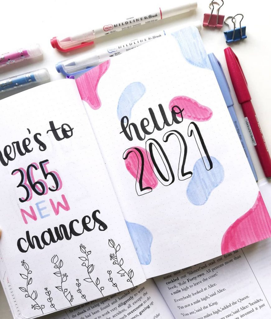 Inspirational 2021 bullet journal cover page ideas