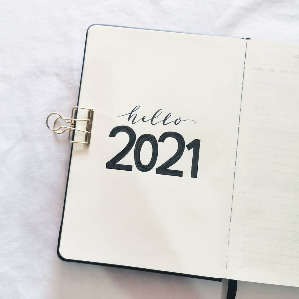 simple 2021 bullet journal cover page ideas