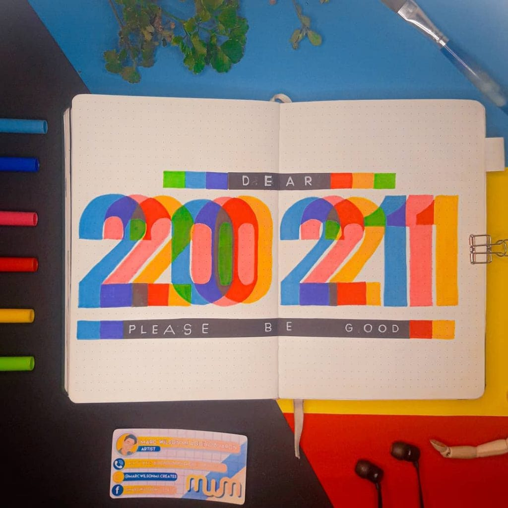 Colourful 2021 bullet journal cover page ideas