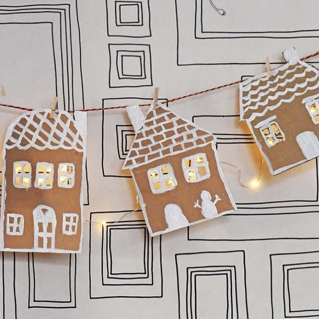 Cardboard Gingerbread House with lights 1
