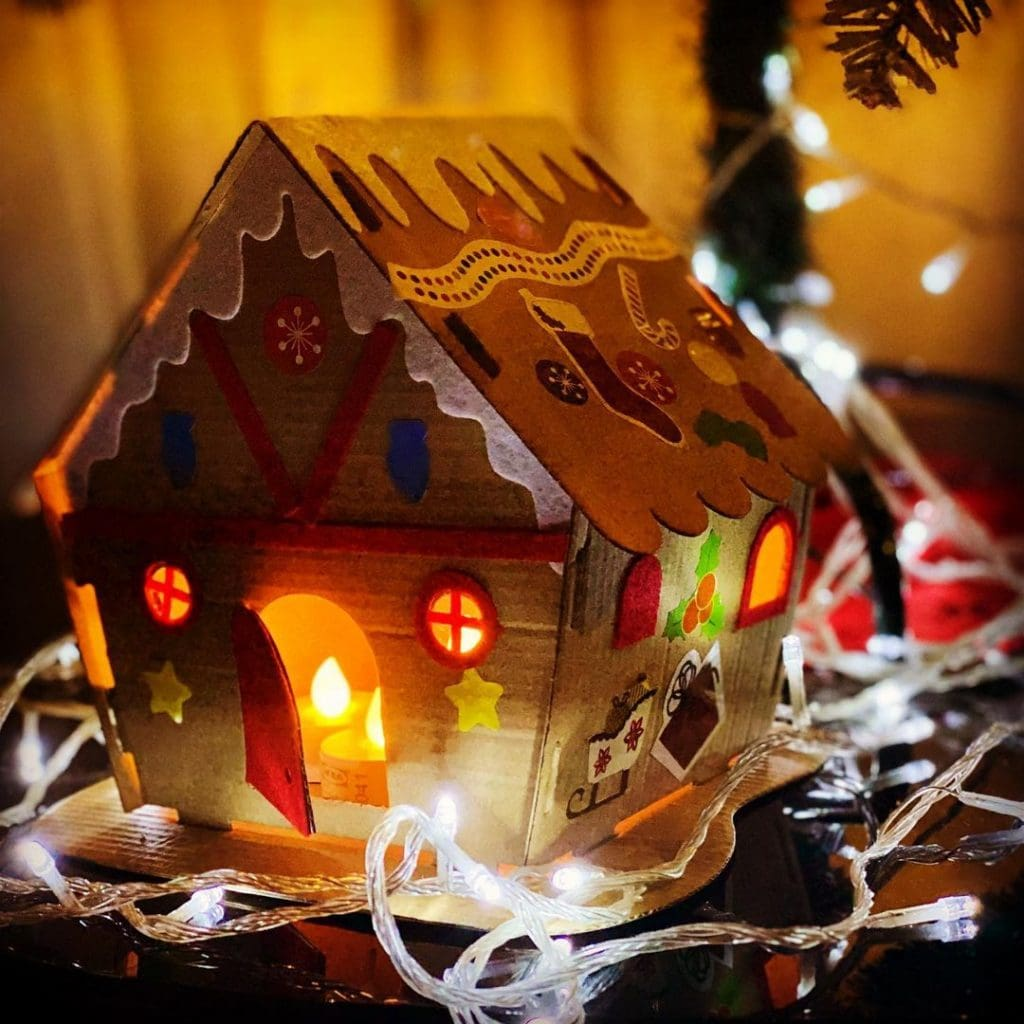 Cardboard Gingerbread House with lights 2