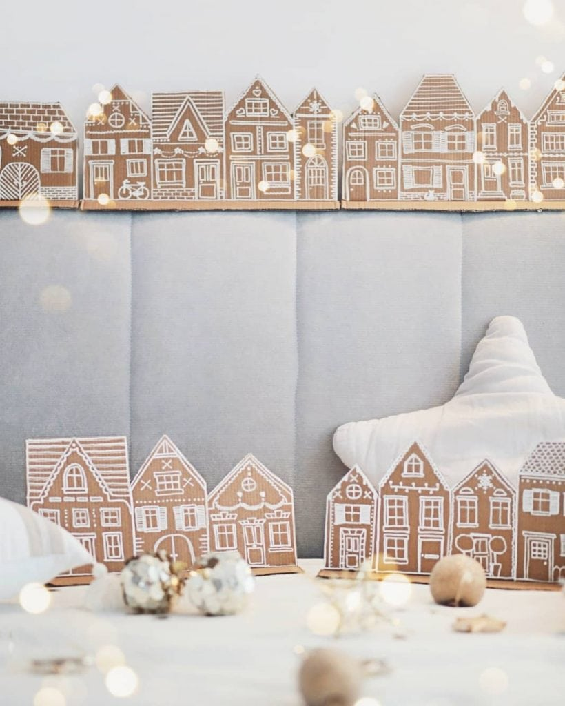 Cardboard Gingerbread House with lights 3