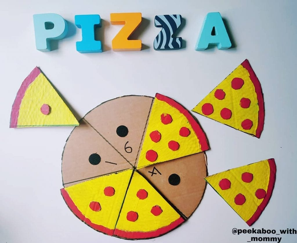 Cardboard pizza counting puzzle cardboard crafts