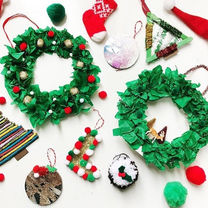 Christmas Wreath tissue paper craft
