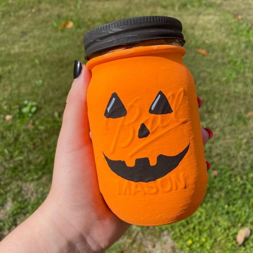 Halloween pumpkin mason jar crafts