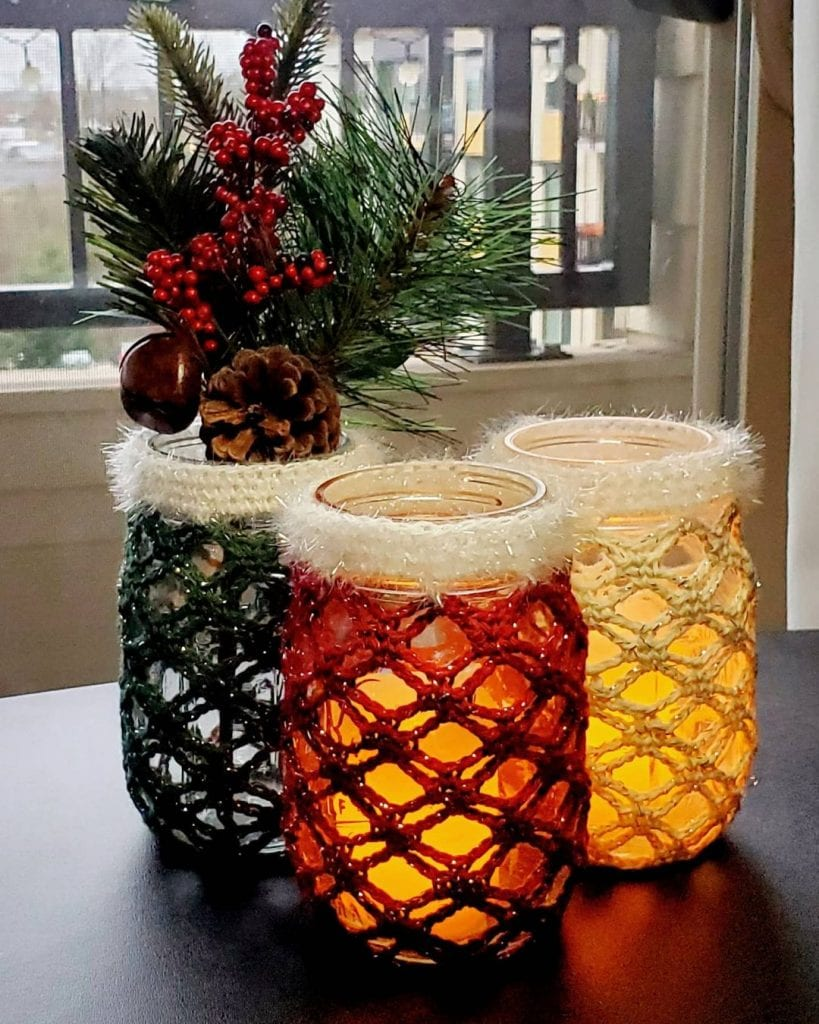 crochet decor christmas mason jar crafts